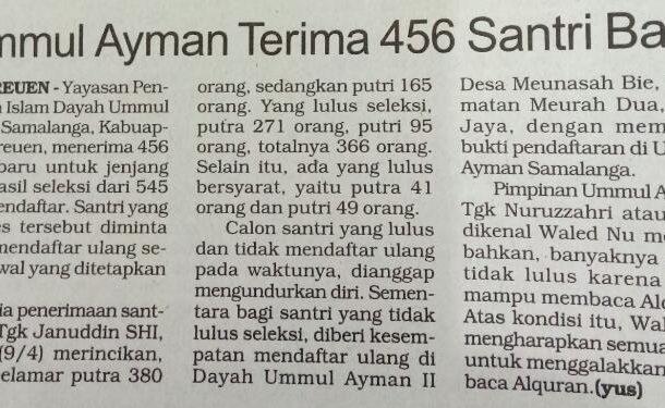Ummul Ayman Terima 456 Santri Baru